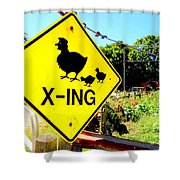 Chicken Crossing Shower Curtain
