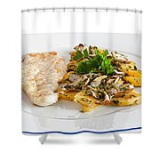 Chicken Escalope With Potatoes And Mushroom Shower Curtain
