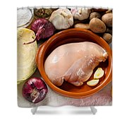 Chicken Fillet With Vegetable Shower Curtain
