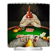 Chicken - Playing Chicken Shower Curtain by Mike Savad
