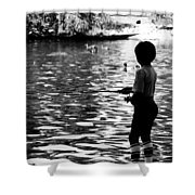 Child Fishing Shower Curtain