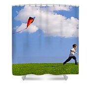 Child Flying A Kite Shower Curtain