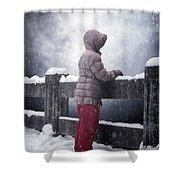 Child In Snow Shower Curtain