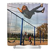 Child On Swing Shower Curtain
