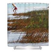 Child Playing On The Beach Mackinaw City Shower Curtain