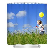 Child Running With A Balloon Shower Curtain
