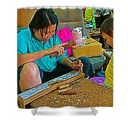 Child Watches As Mom Works In Teak Wood Carving Shop In Kanchanaburi-thailand Shower Curtain