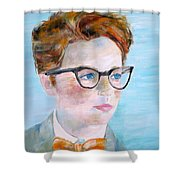Child With Glasses Shower Curtain