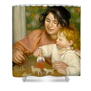 Child With Toys Gabrielle And The Artist S Son Jean Shower Curtain by Pierre Auguste Renoir