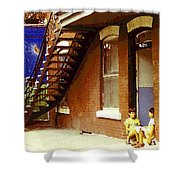 Childhood Dreams Montreal Memories Best Friends Forever Balloons At The Cornerstore Carole Spandau  Shower Curtain