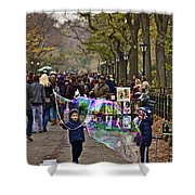 Children And Big Bubbles Shower Curtain