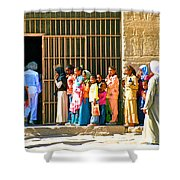 Children And Tourists At Entry To Temple Of Hathor In Dendera-egypt Copy Shower Curtain by Ruth Hager