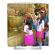 Children Bring Lotus Flowers To Royal Temple At Grand Palace Of Thailand Shower Curtain