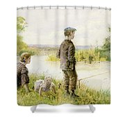 Children Fishing By A Stream Shower Curtain