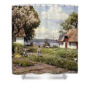 Children In A Farmyard Shower Curtain by Peder Monsted