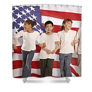 Children In Front Of American Flag Shower Curtain by Don Hammond