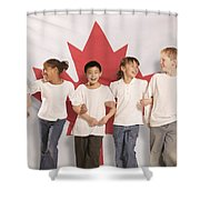 Children In Front Of Canadian Flag Shower Curtain by Don Hammond