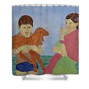 Children In Indian Village Shower Curtain