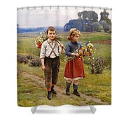 Children On The Way Home Shower Curtain