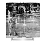 Children Play By Fountain Shower Curtain