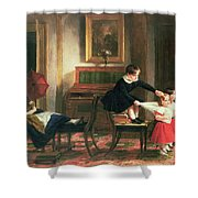 Children Playing At Coach And Horses Shower Curtain by Charles Robert Leslie