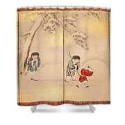 Children Playing In Summer And Winter Shower Curtain