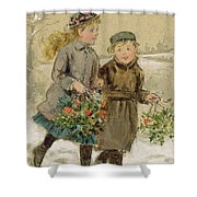 Children Playing In The Snow  Shower Curtain