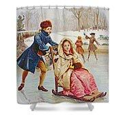 Children Skating Shower Curtain by Maurice Leloir