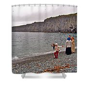 Children Throwing Capelin Back Into The Ocean At Middle Cove-nl Shower Curtain