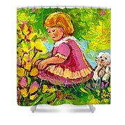 Children's Art - Little Girl With Puppy - Paintings For Children Shower Curtain
