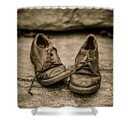 Child's Old Leather Shoes Shower Curtain by Edward Fielding