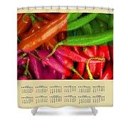 Chili Pepper 2014 Calendar Shower Curtain