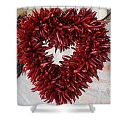Chili Pepper Heart Shower Curtain