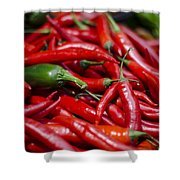 Chili Peppers At The Market Shower Curtain by Heather Applegate