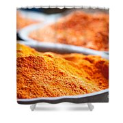 Chili Powder At Local Street Market In Dunhuang China Shower Curtain