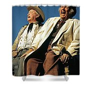 Chill Wills And Andy Devine Singing Atop A Stagecoach Old Tucson Arizona 1971 Shower Curtain