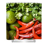 Chillies And Limes Shower Curtain