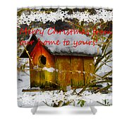 Chilly Birdhouse Holiday Card Shower Curtain