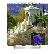 Chimes Tower Bell Flower Shower Curtain