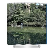 Chimes Tower Reflection Shower Curtain