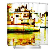 Chincoteague Boat Reflections Shower Curtain