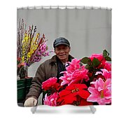 Chinese Bicycle Flower Vendor On Street Shanghai China Shower Curtain