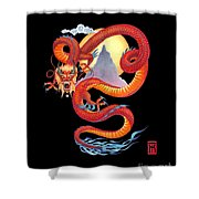 Chinese Dragon On Black Shower Curtain