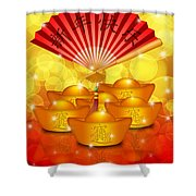 Chinese Gold Bars And Fan With Text Happy New Year Shower Curtain