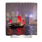 Chinese Junk Sail In Hong Kong Harbor At Night Shower Curtain