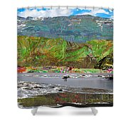 Chinese Landscape Abstract Graphic River Snow Peak Mountain Picnic Spot Skiing Raft Boat Shower Curtain