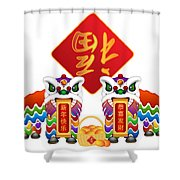 Chinese Lion Dance Pair With Symbols Illustration Shower Curtain