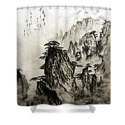 Chinese Mountains With Poem In Ink Brush Calligraphy Of Love Poem Shower Curtain