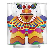 Chinese New Year Lion Dance Illustration Shower Curtain