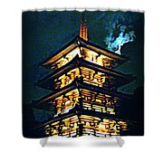 Chinese Pagoda At Night With Full Moon Shower Curtain